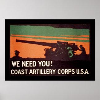 ¡Le necesitamos! Cuerpo de la artillería de la cos Póster