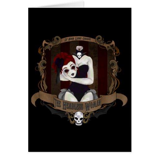 Le Noir Lune Cirque- la tarjeta de nota sin cabeza