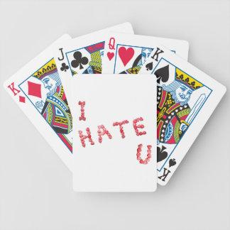 Le odio - escrito en corazones barajas de cartas