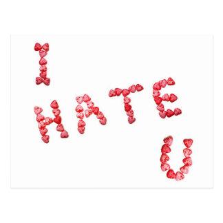 Le odio - escrito en corazones tarjeta postal