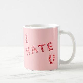 Le odio taza de la taza de Coffe del rosa del