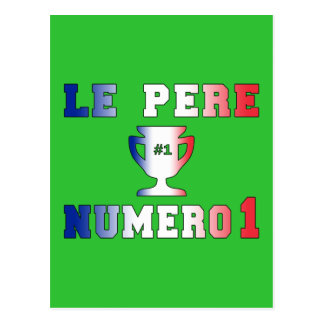 Le Père Numero 1 #1 Dad in French Father's Day Postcard