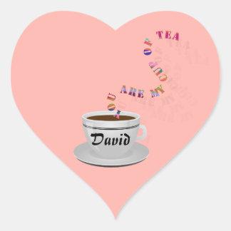 Le personalizan a mi taza de pegatinas del corazón pegatina en forma de corazón