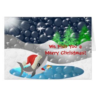 Le pescamos las Felices Navidad Tarjeta De Felicitación