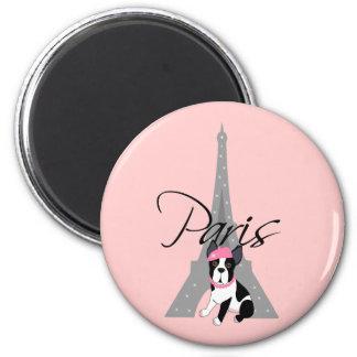 Le petit chien à Paris 2 Inch Round Magnet
