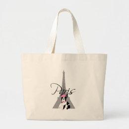 Le petit chien à Paris Large Tote Bag