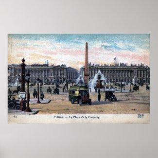 Le Place de la Concorde Paris France Vintage print