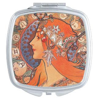 Le Plume Lady with Zodiac Symbols Makeup Mirror