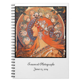 Le Plume Lady with Zodiac Symbols Spiral Notebook