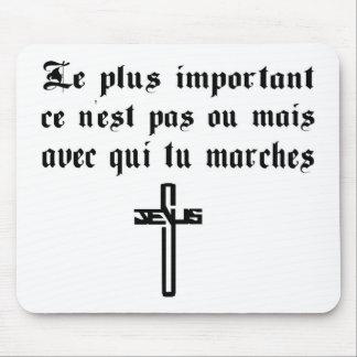Le plus important Jésus noir fond blanc Mouse Pad