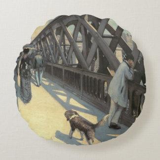 Le Pont de L'Europe, 1876 Round Pillow