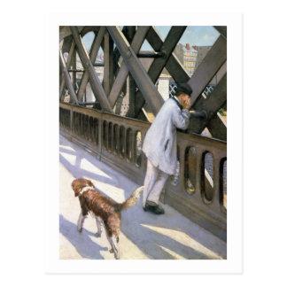 Le Pont de L'Europe: detail of a resting man and a Postcard