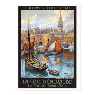 Le Port de Saint Malo France Vintage Travel Postcard