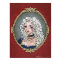 portrait, vampire, vampiress, french, rococo, victorian, gothic, lolita, vamp, goth, dark, fantasy, royal, marie, antoinette, white, hair, emo, anime, manga, art, painting, cameo, zerick, delphine, levesque, demers, Postcard with custom graphic design