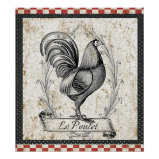 Le Poulet Vintage Chicken Poster