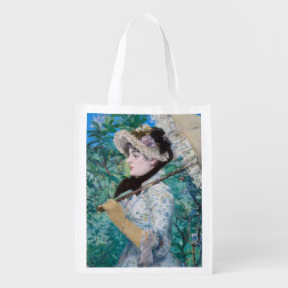 Le Printemps Manet Impressionist Art Painting Grocery Bags