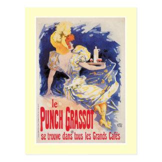 Le Punch Grassot Vintage Wine Drink Ad Art Postcard