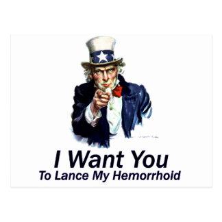 Le quiero: A la lanza mi Hemorrhoid Postales