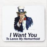 Le quiero: A la lanza mi Hemorrhoid Alfombrillas De Ratón
