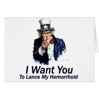 Le quiero: A la lanza mi Hemorrhoid Felicitacion