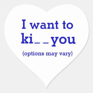 Le quiero al _del ki_ (las opciones pueden variar) pegatina en forma de corazón