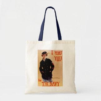 Le quiero bolso del vintage de la marina de guerra bolsas de mano