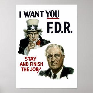 Le quiero FDR -- Tío Sam WWII Póster
