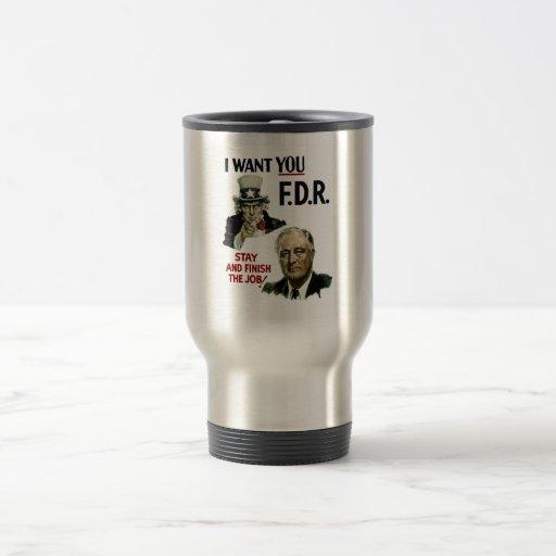 Le quiero FDR -- Tío Sam WWII Taza De Café
