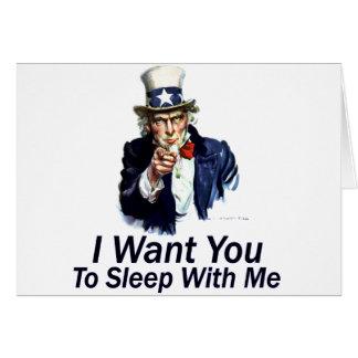 Le quiero:  Para dormir conmigo Tarjeta De Felicitación