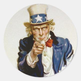 Le quiero para el ejército americano De James Pegatina Redonda