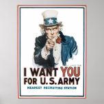 ¡Le quiero! para el ejército de Estados Unidos Poster
