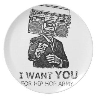 Le quiero para el ejército del hip-hop plato de comida