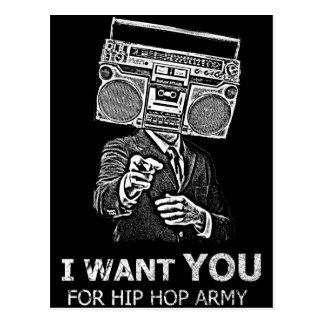 Le quiero para el ejército del hip-hop tarjeta postal