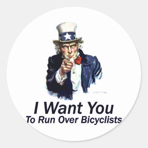 Le quiero: Para funcionar con encima a Bicyclists Pegatina Redonda