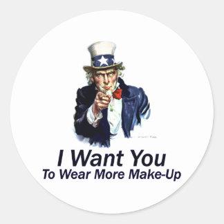 Le quiero: Para llevar más maquillaje Pegatina Redonda