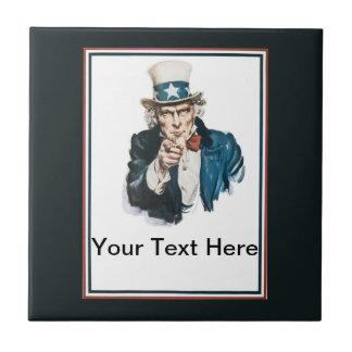 Le quiero personalizar del tío Sam su texto Azulejo Cuadrado Pequeño