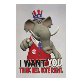 Le quiero - piense la derecha roja del voto póster