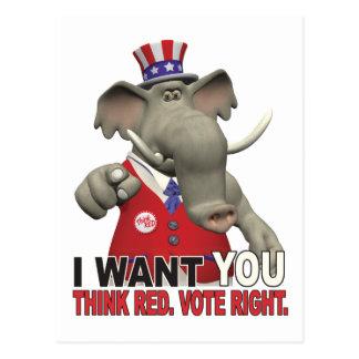 Le quiero - piense la derecha roja del voto tarjeta postal