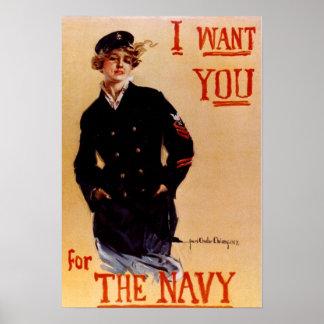 Le quiero poster de la marina de guerra del vintag