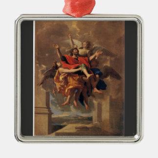 Le Ravissement de Saint Paul 1650 by Poussin Square Metal Christmas Ornament