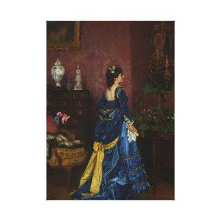 Le Robe Bleu by August Toulmouche Canvas Print