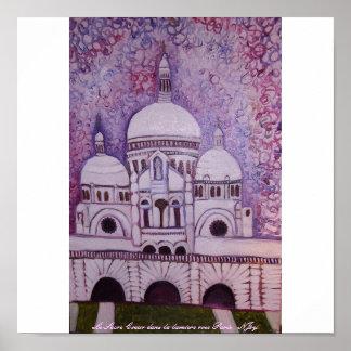 Le Sacre Coeur dans la lumiere rose Paris Poster
