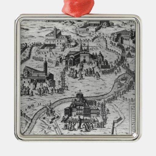 Le Sette Chiesa di Roma, 1575 Square Metal Christmas Ornament