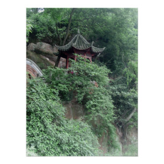 Le Shan Mountainside Buddhist Pavilion Poster