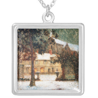 Le Sidaner: House in Snow Square Pendant Necklace