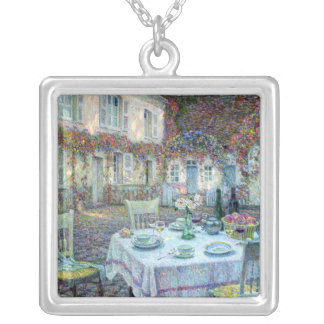 Le Sidaner: Table with Roses at Gerberoy Square Pendant Necklace