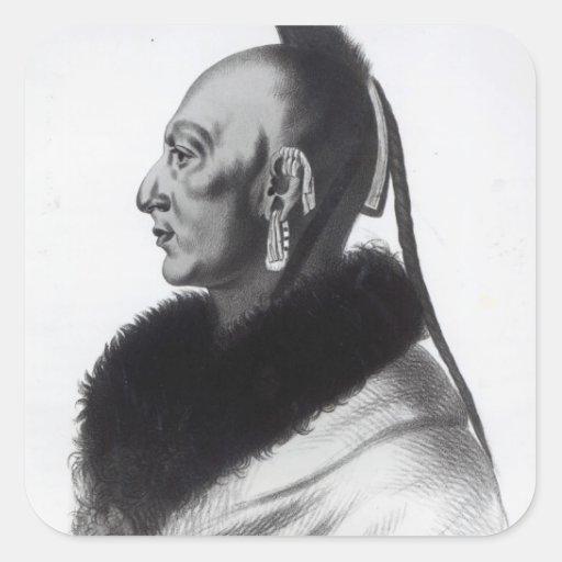 Le Soldat du Chene, an Osage Chief Square Sticker