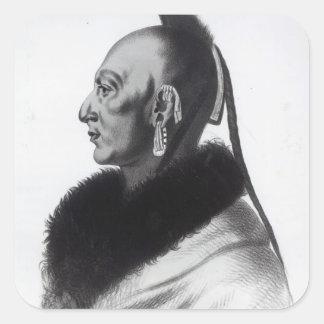 Le Soldat du Chene, jefe de Osage Pegatina Cuadrada