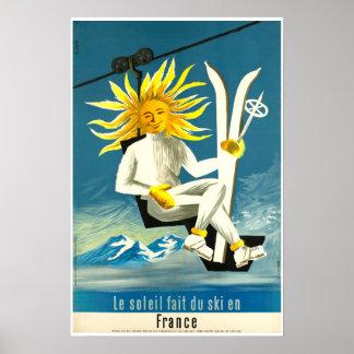 Le soleil fait du ski en France, Ski Poster