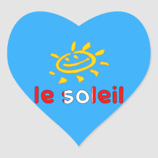 Le Soleil The Sun in Canadian Summer Vacation Heart Sticker